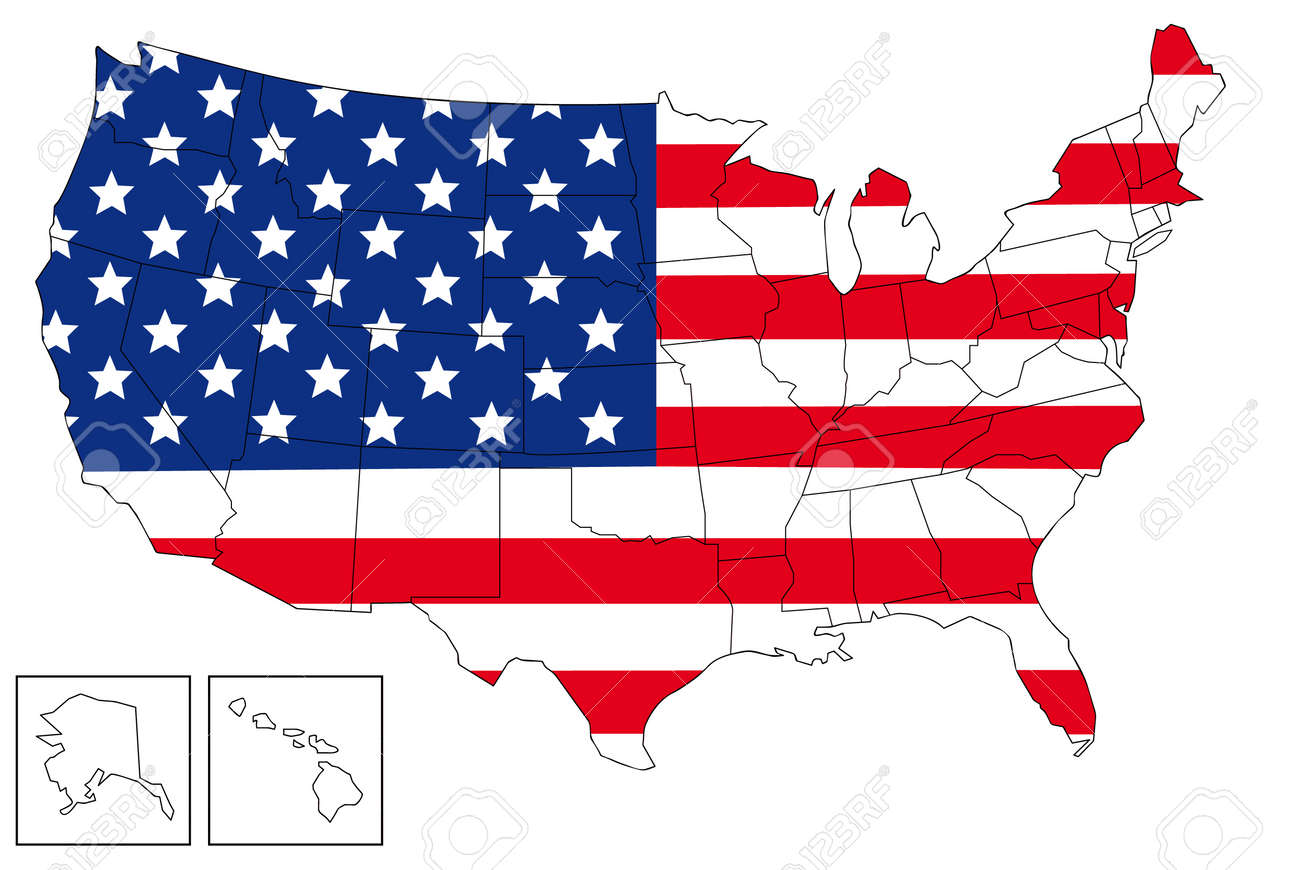 Map Of USA With USA Flag As Background. Royalty Free Cliparts ...