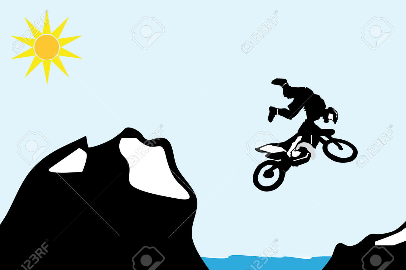 Motocross bike jump over the mountain. Stock Vector - 9355655