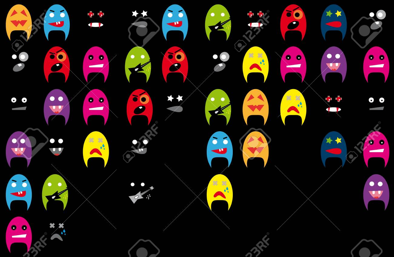 Funky mascots on the black background. Stock Vector - 9380914