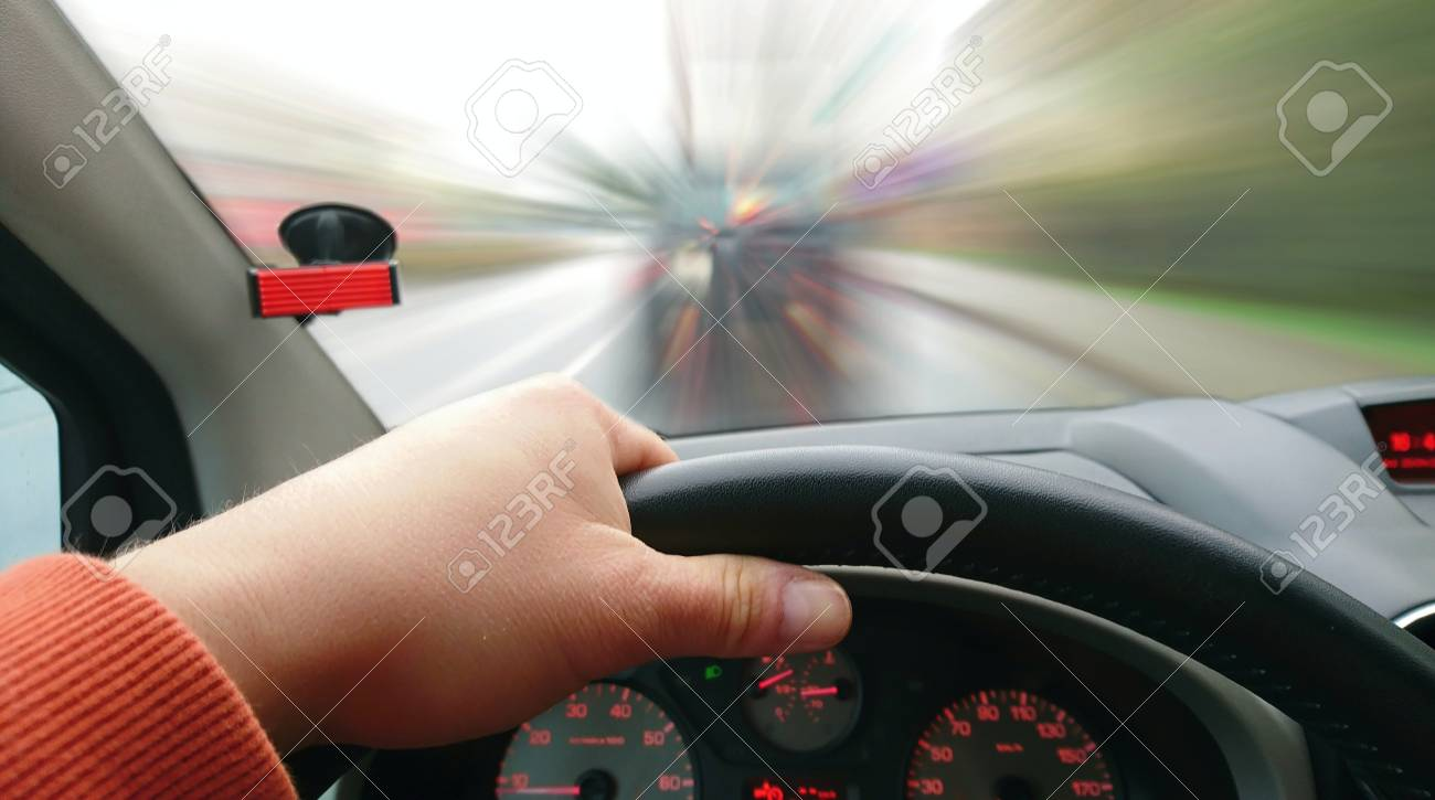Behind The Wheel >> First Person View Of Driver Behind The Wheel During Driving A