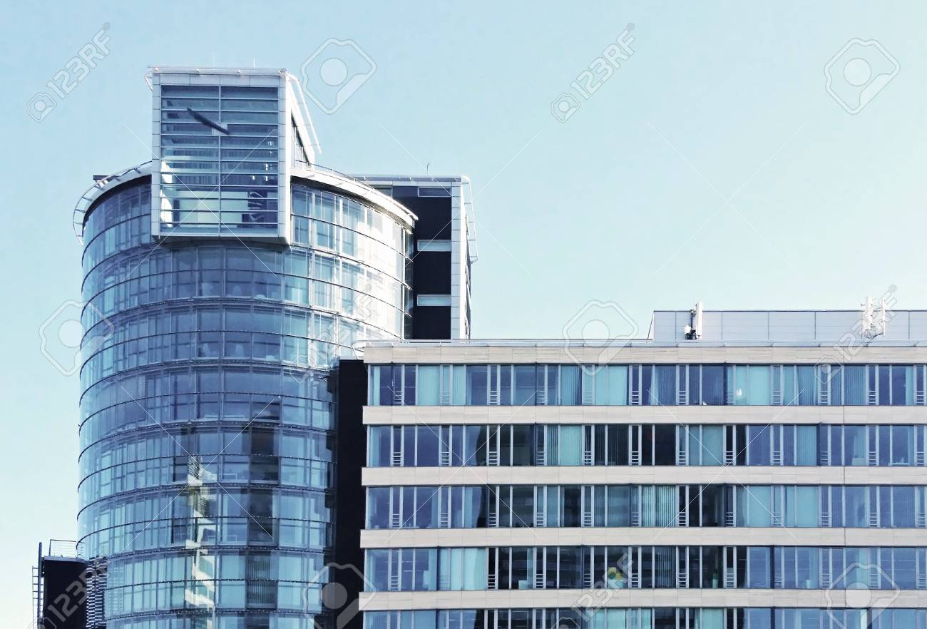 Glass exterior modern office Symmetrical Front View Of Modern Office Glass Building Exterior Against The Blue Sky Stock Photo 123rfcom Front View Of Modern Office Glass Building Exterior Against