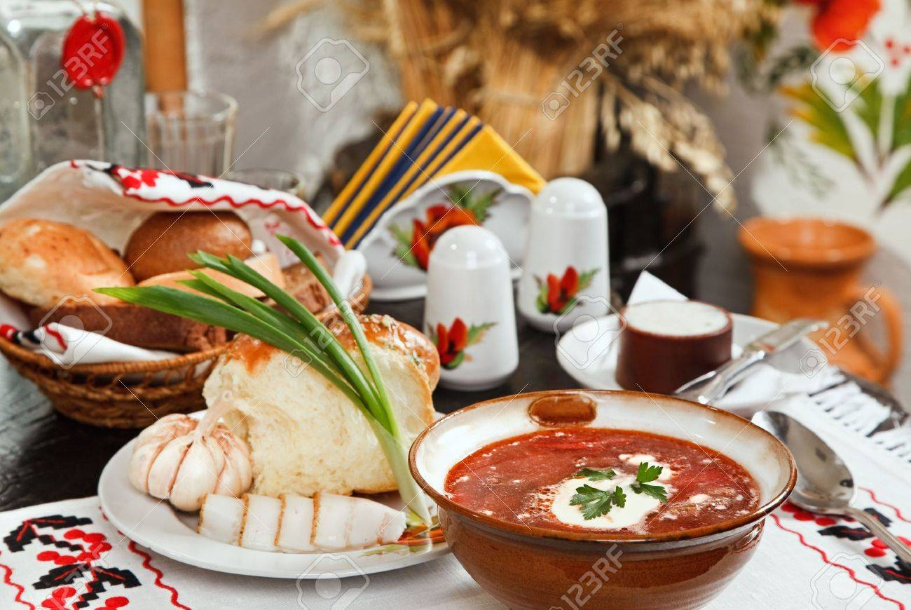 Ukrainian borsch, red-beet soup with pampushki, lard and garlic Stock Photo - 7252882