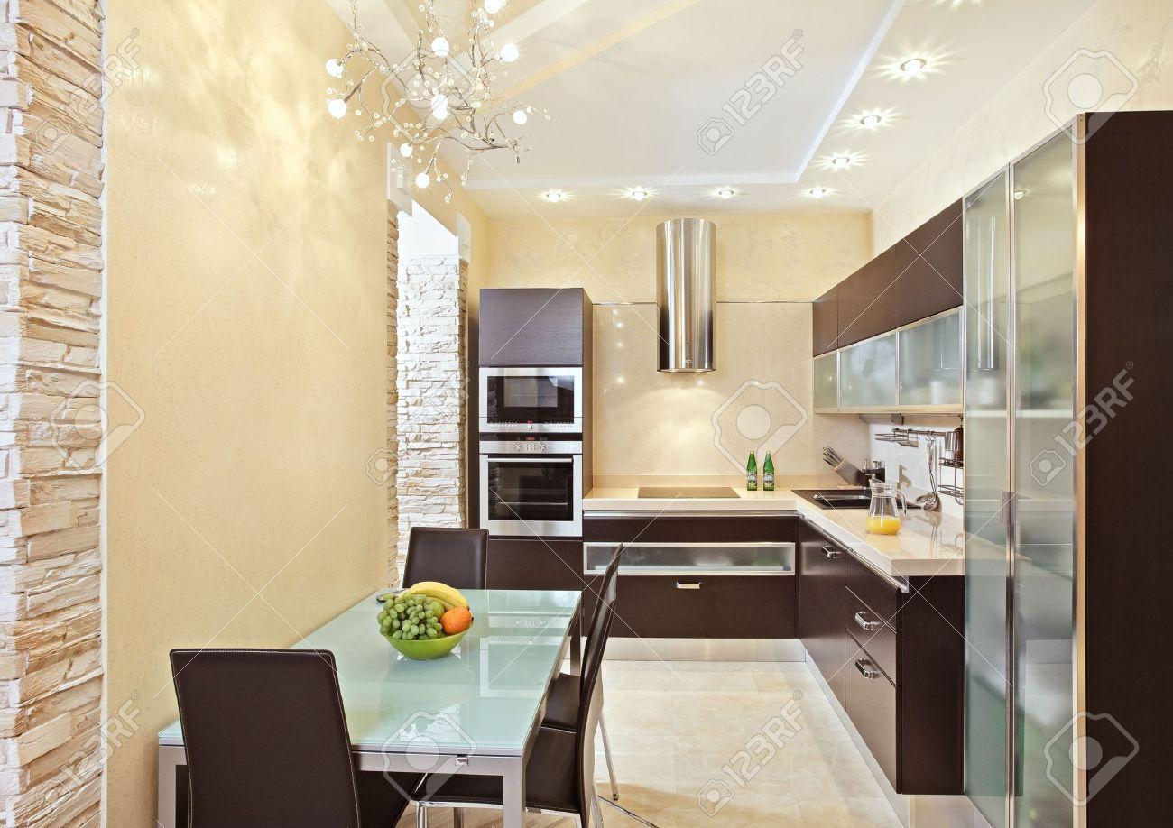Modern Kitchen interior in warm tones Stock Photo - 7262254