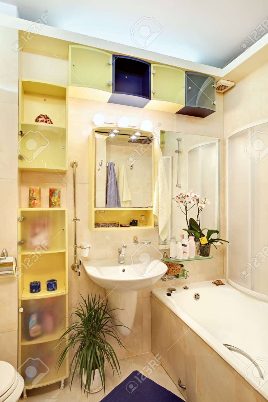 Modern Bathroom in yellow and blue vivid colors Stock Photo - 7262335
