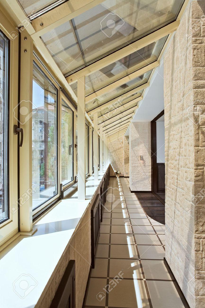 Ventanas Pvc Stock.Long Balcony Gallery Interior With Pvc Windows