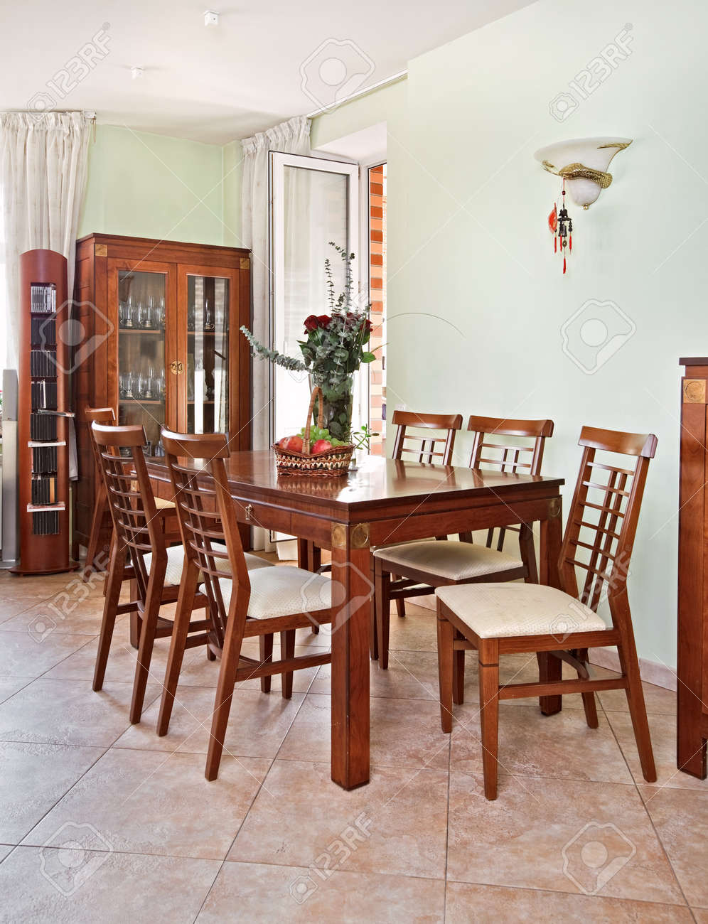 Dining room interior with classic wooden furniture Stock Photo - 7350601