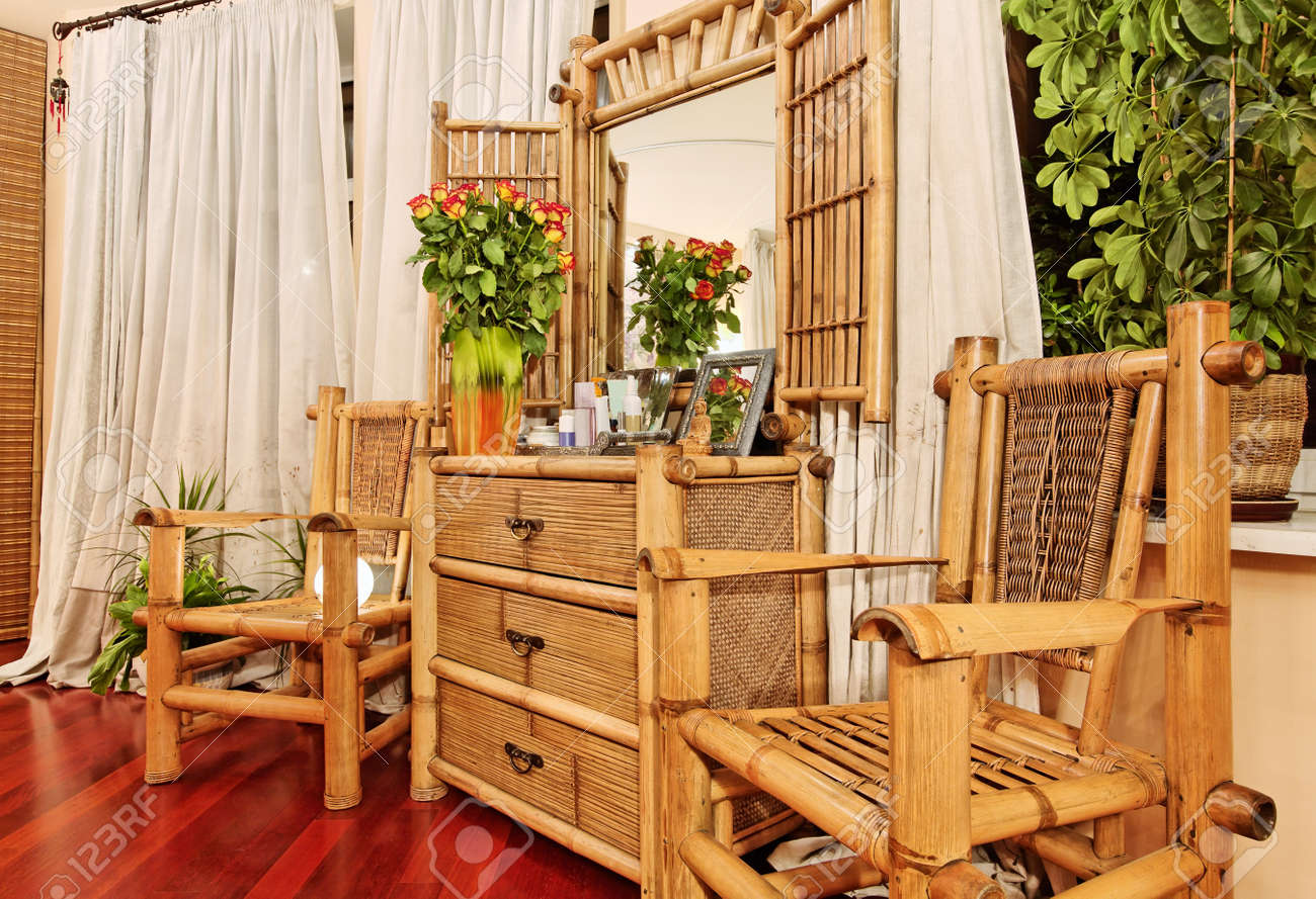 Stock Photo   Wooden Ethnic Bamboo Boudoir Furniture