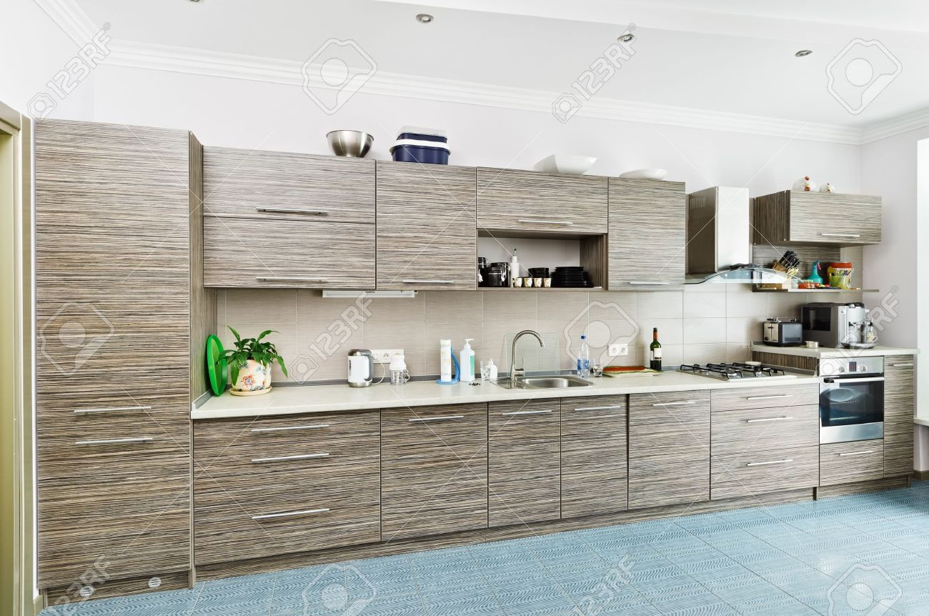 Minimalismo Moderno Stile Di Cucina Interni Con Patterned Grigio ...