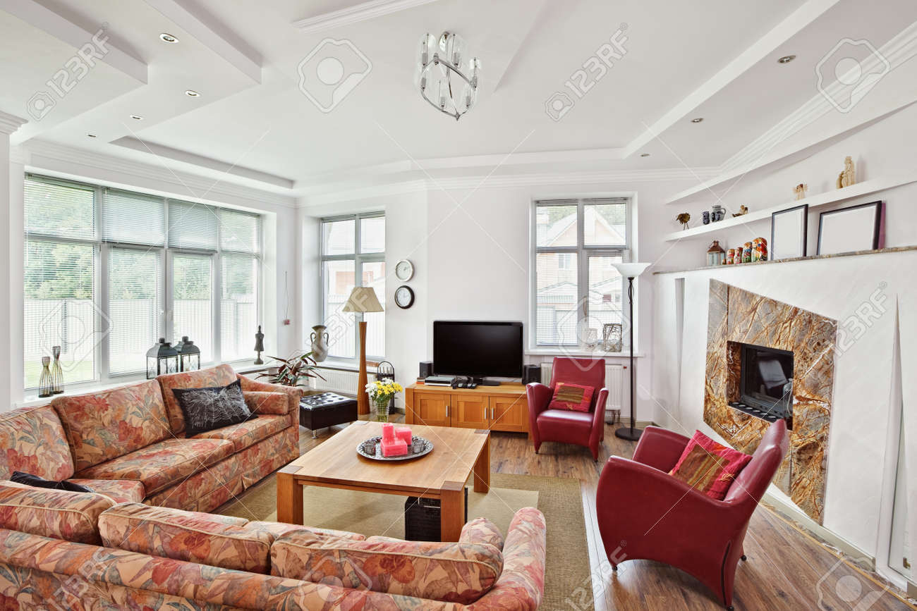 Modern Art Deco Style Drawing-room Interior With Fireplace And ...