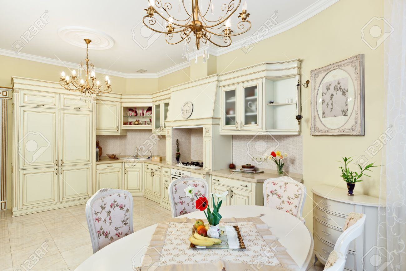 Classic style kitchen and dining room interior in beige pastoral colors Stock Photo - 8679233