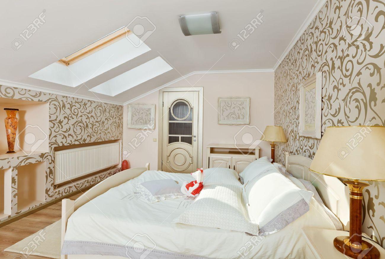 Slaap kamer interieur in moderne art deco stijl in licht beige ...