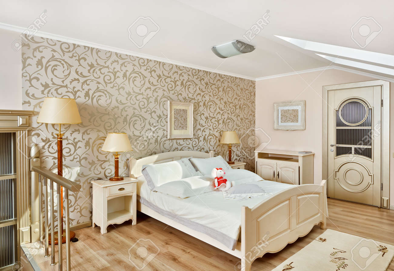 Modern Art Deco Style Bedroom Interior In Light Beige Colors.. Stock ...