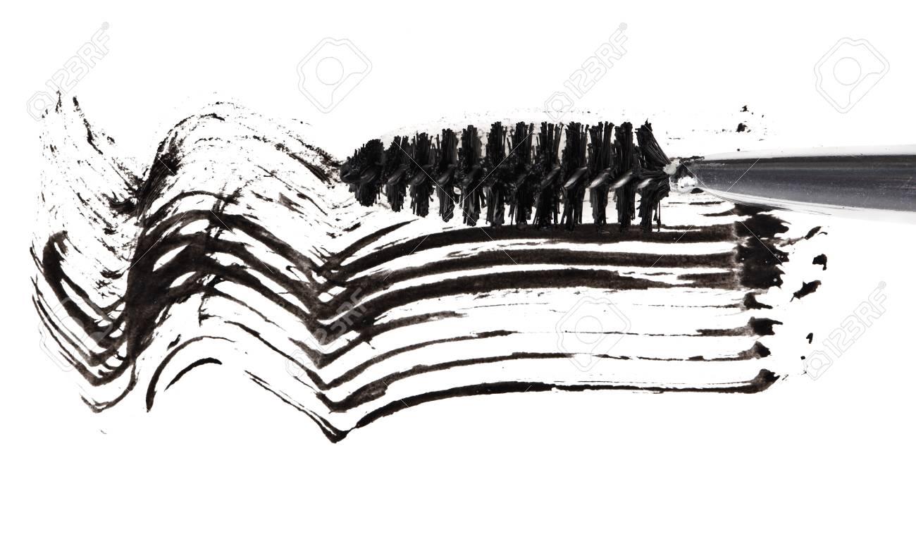 Stroke of black mascara brush isolated on white macro Stock Photo - 9452519
