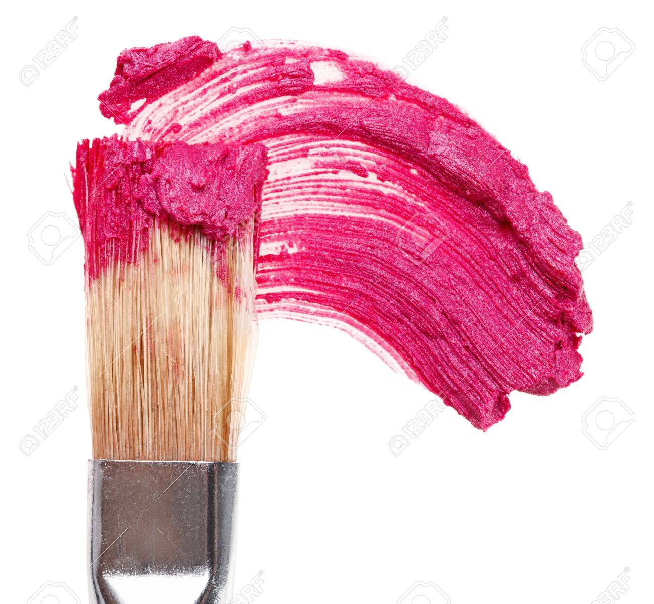 Pink lipstick stroke (sample) with makeup brush, isolated on white Stock Photo - 9452536