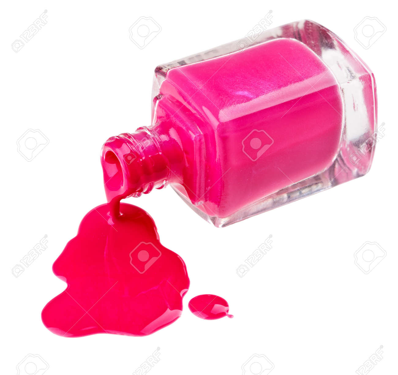 Bottle of pink nail polish with enamel drop samples, isolated on white Stock Photo - 9567814