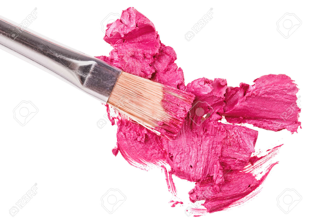 Pink lipstick stroke (sample) with makeup brush, isolated on white Stock Photo - 9963858
