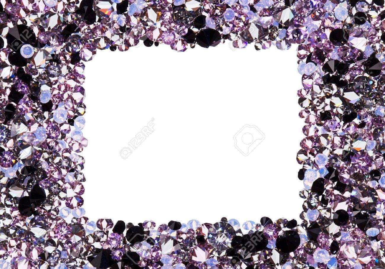 Marco Cuadrado Hecho De Muchos Diamantes Púrpura Pequeña, Con ...