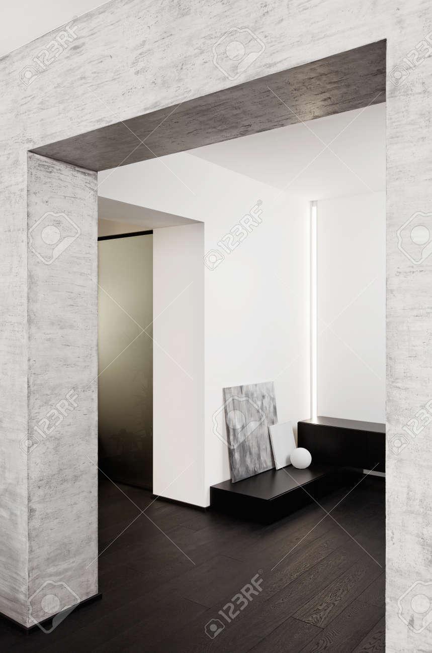 Modern minimalism style corridor interior in black and white tones Stock Photo - 14883177