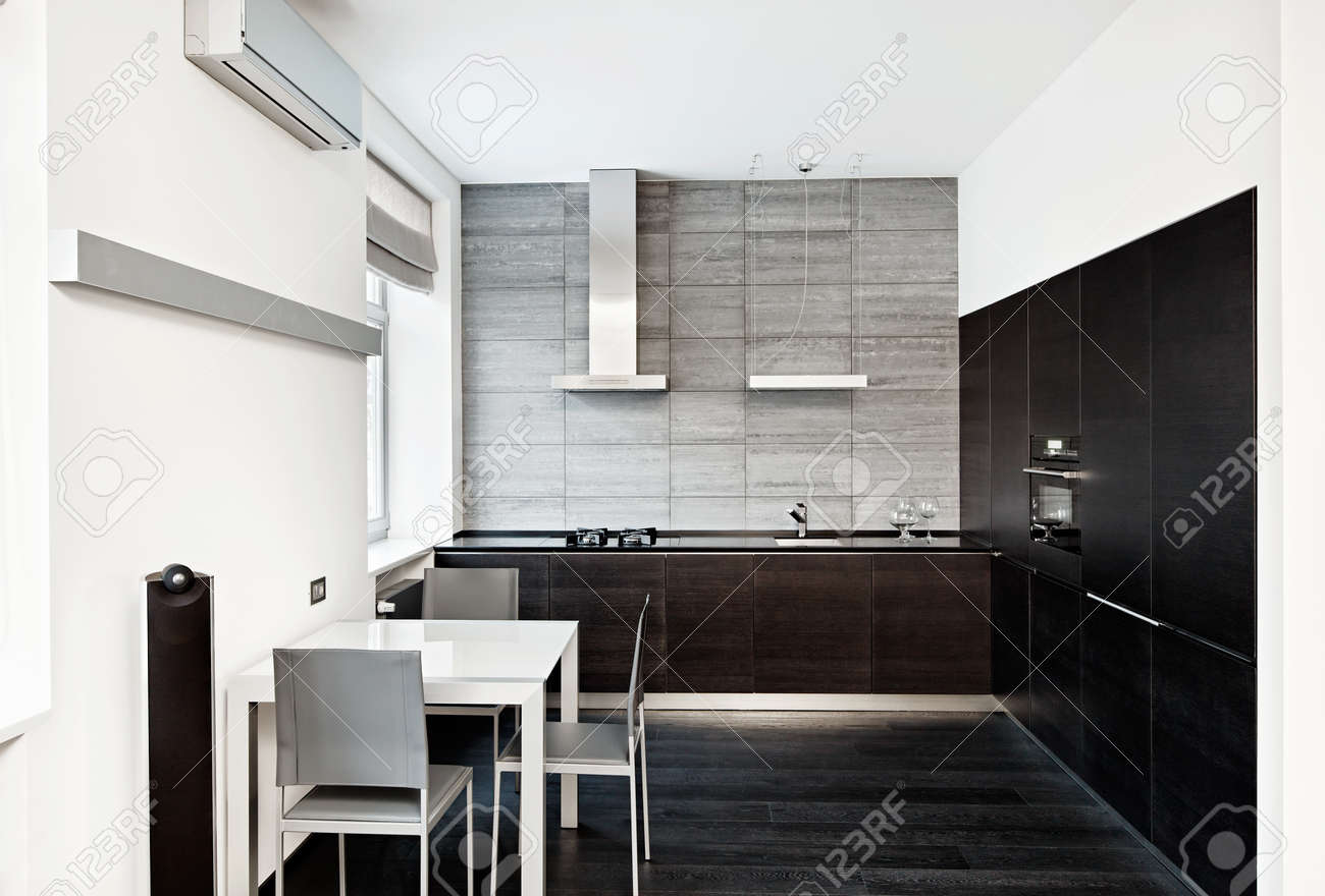 Modern minimalism style kitchen interior in monochrome tones Stock Photo - 14883161