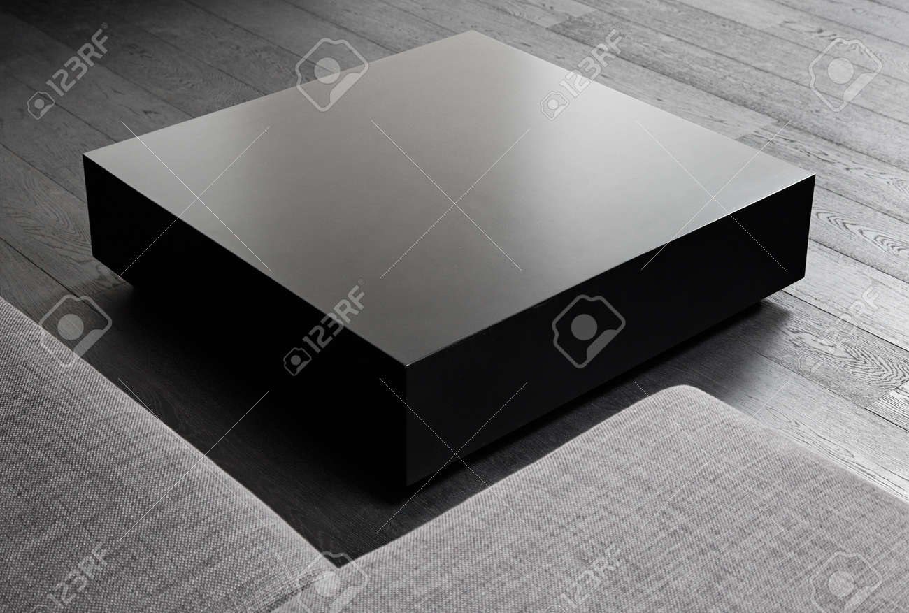 - Black Square Coffee-table, Modern Interior Detail Stock Photo