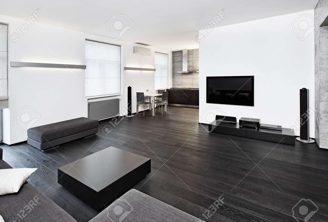 Moderne minimalistische stijl woonkamer interieur in zwart wit ...