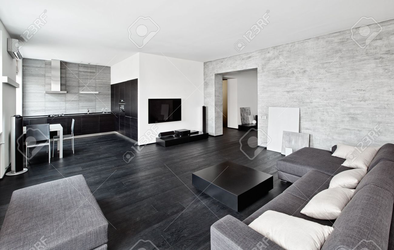 Modern Minimalism Style Drawing-room Interior In Black And White ...
