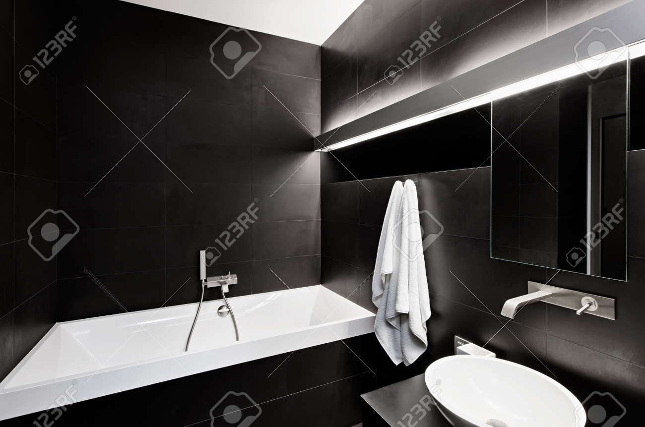 Modern Minimalism Style Bathroom Interior In Black And White Tones Stock Photo 14959126