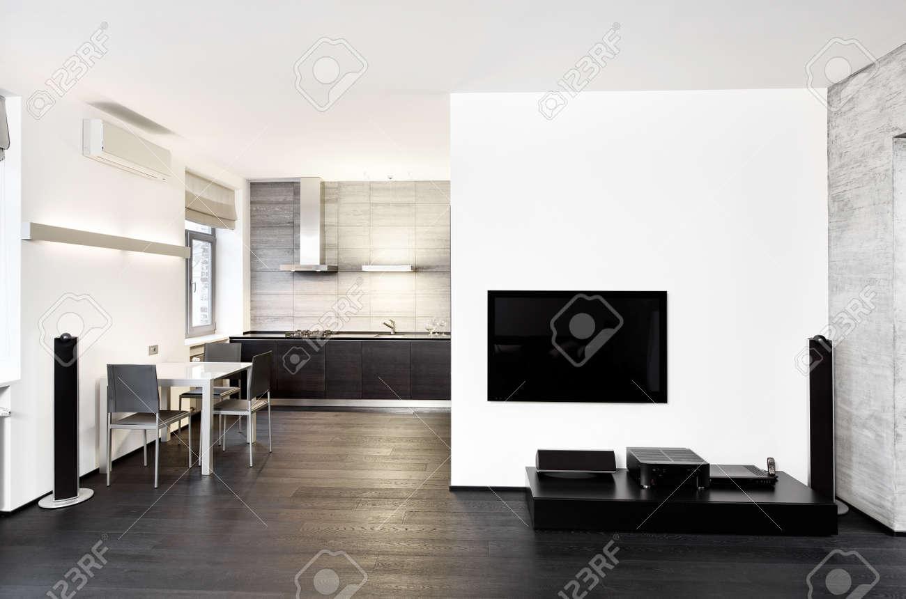 Moderner Minimalismus Küche Und Wohnzimmer Innenraum In Schwarz Weiß Töne  Standard Bild