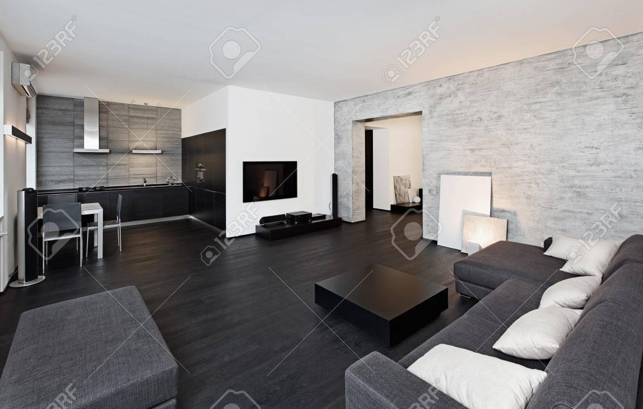 Salotto Moderno Bianco E Nero : Moderno minimalismo in stile salotto interni in tonalità bianco e