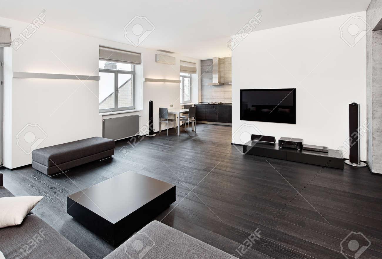 Modern minimalistisk stil vardagsrum inredning i svart och vita ...