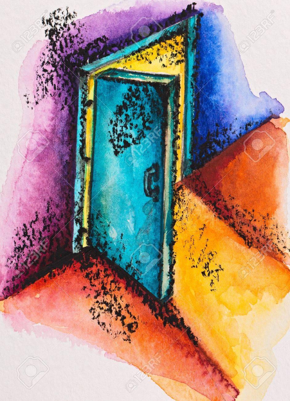 open door painting. abstract open door with light watercolor slatepencil painting stock photo 16536798 r
