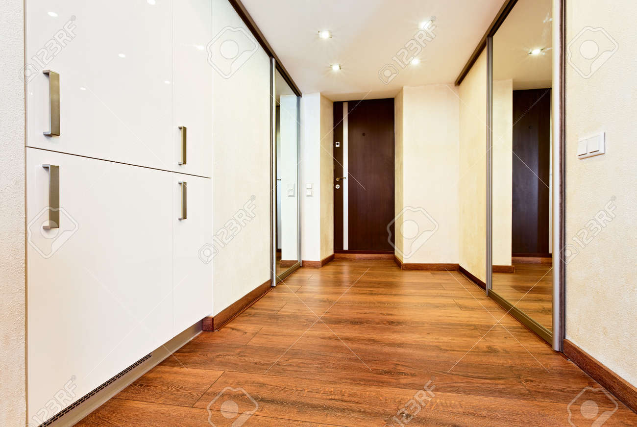 Modern Minimalism Style Corridor Interior With Sliding Door Mirror Wardrobe  Stock Photo   17799263