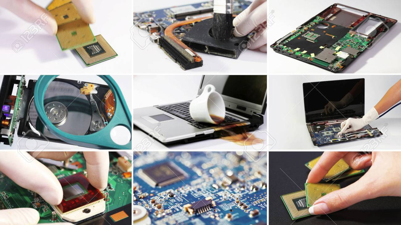 Set Collage Of Computer (laptop) Hardware And Components Photos Stock Photo, Picture And Royalty Free Image. Image 60531189.