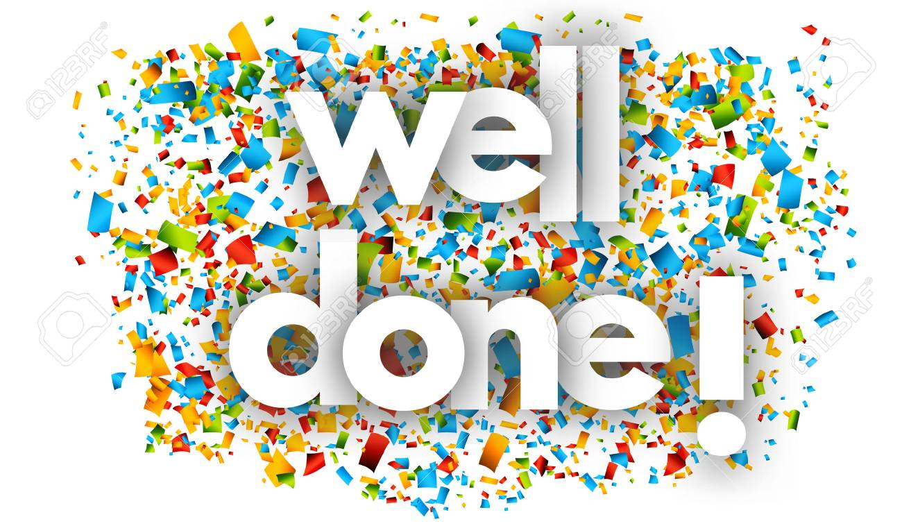 Well done letters vector word banner sign - 78587922