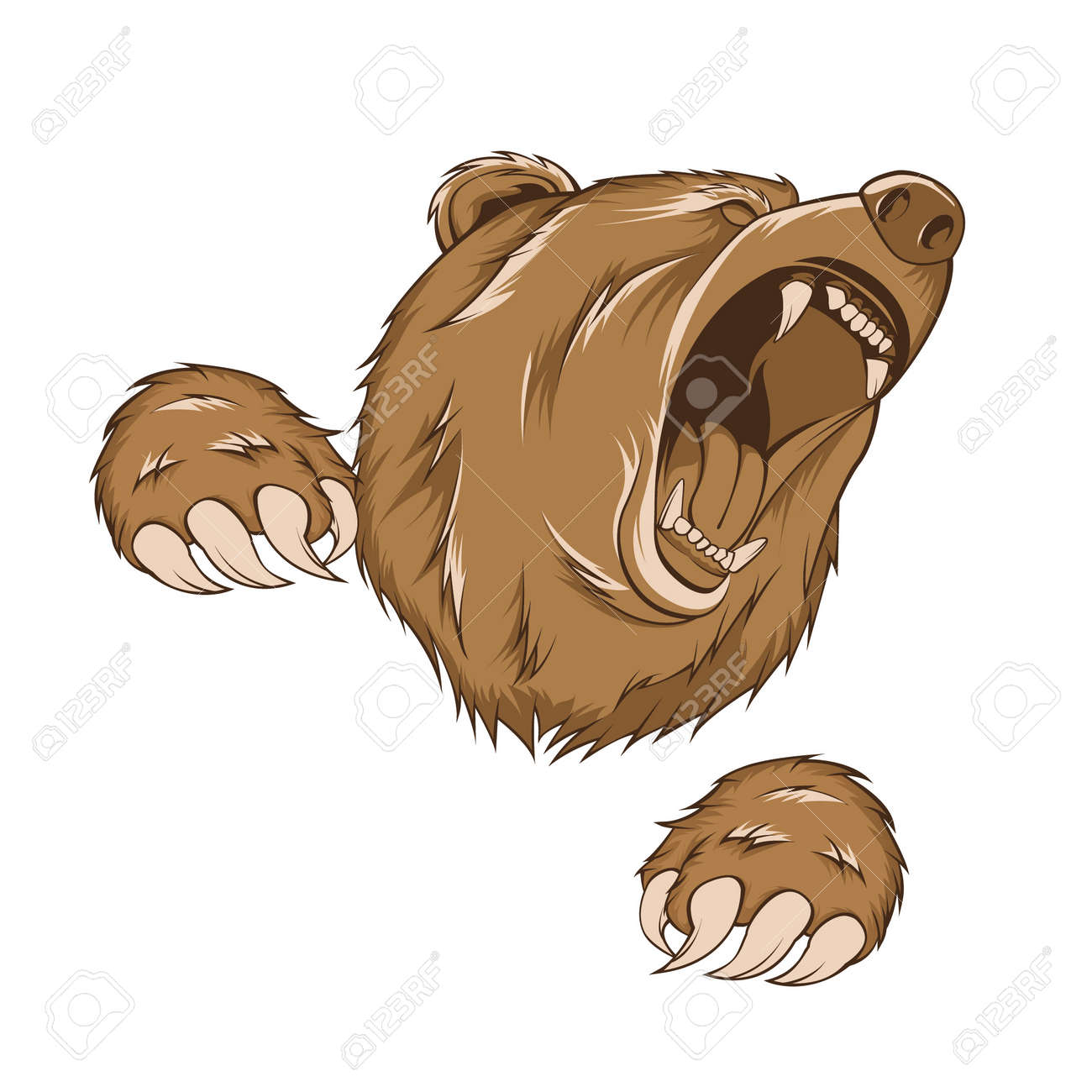 grizzly bear, vector with scratch pose - 27176769