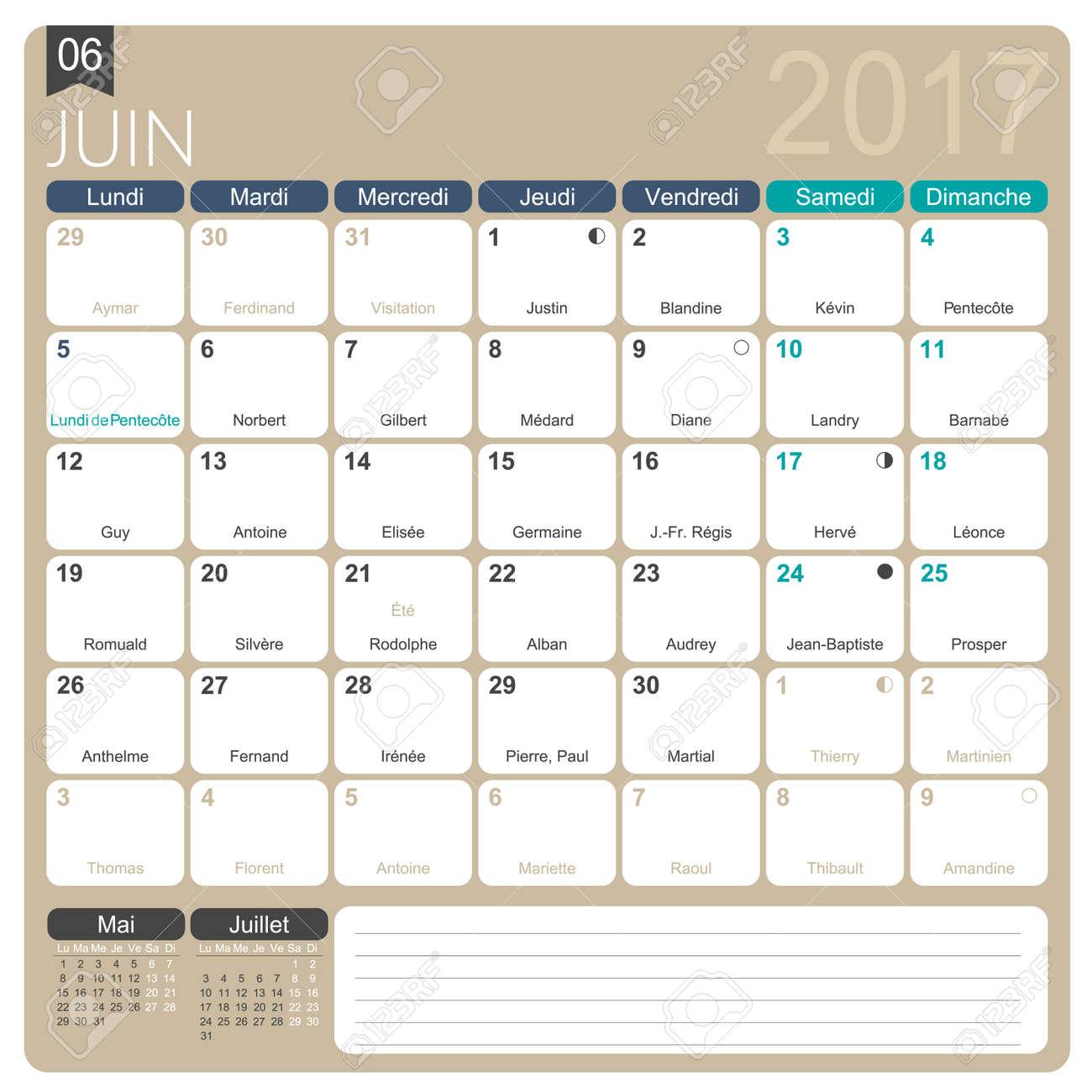 Juin 2017 Francais Imprimer Modele De Calendrier Mensuel Y Compris Les Jours De Nom Phases Lunaires Et Les Jours Feries