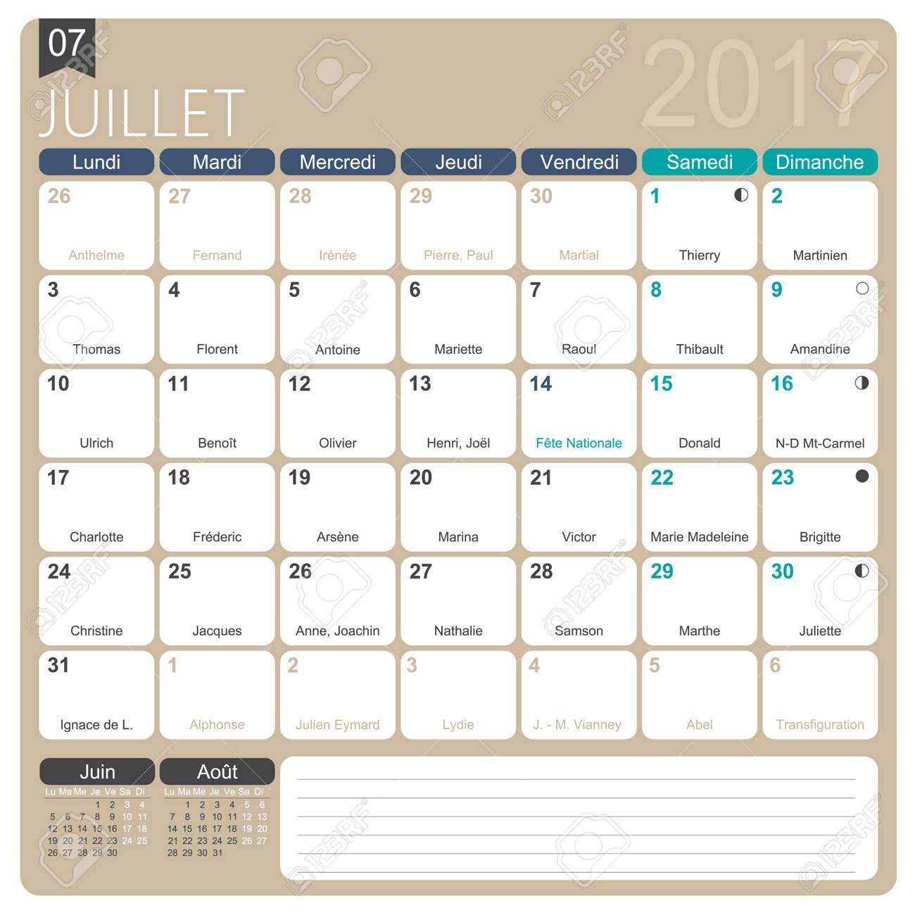 Calendario Stampabile.Luglio 2017 Francese Stampabile Modello Di Calendario Mensile Compresi Onomastici Fasi Lunari E Giorni Festivi