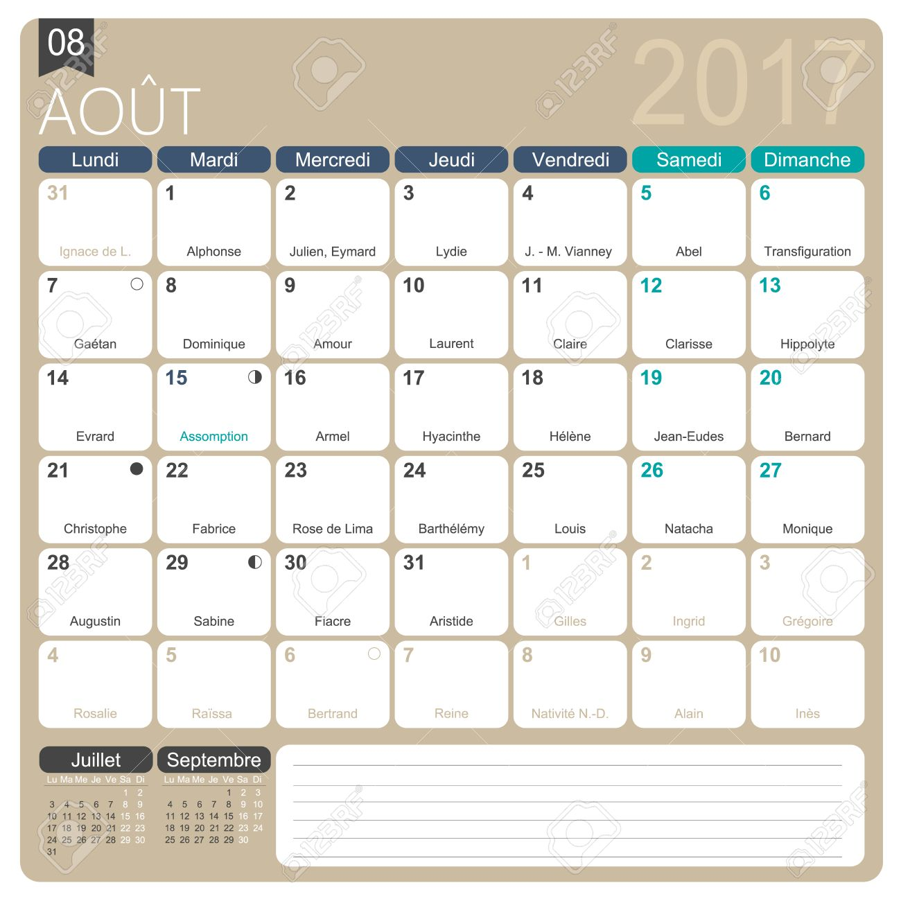 August 2017, French Printable Monthly Calendar Template, Including ...