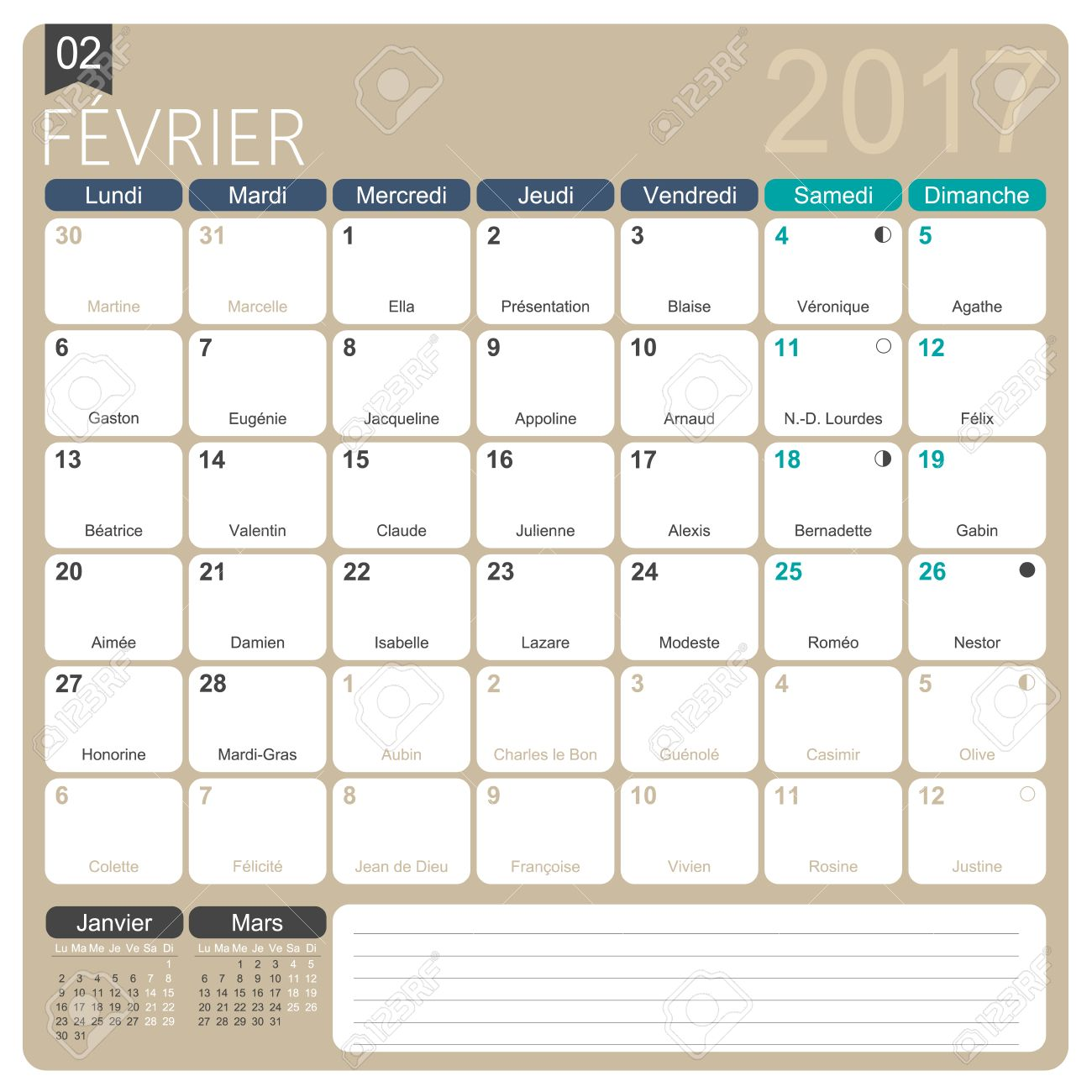 february 2017 french printable monthly calendar template including