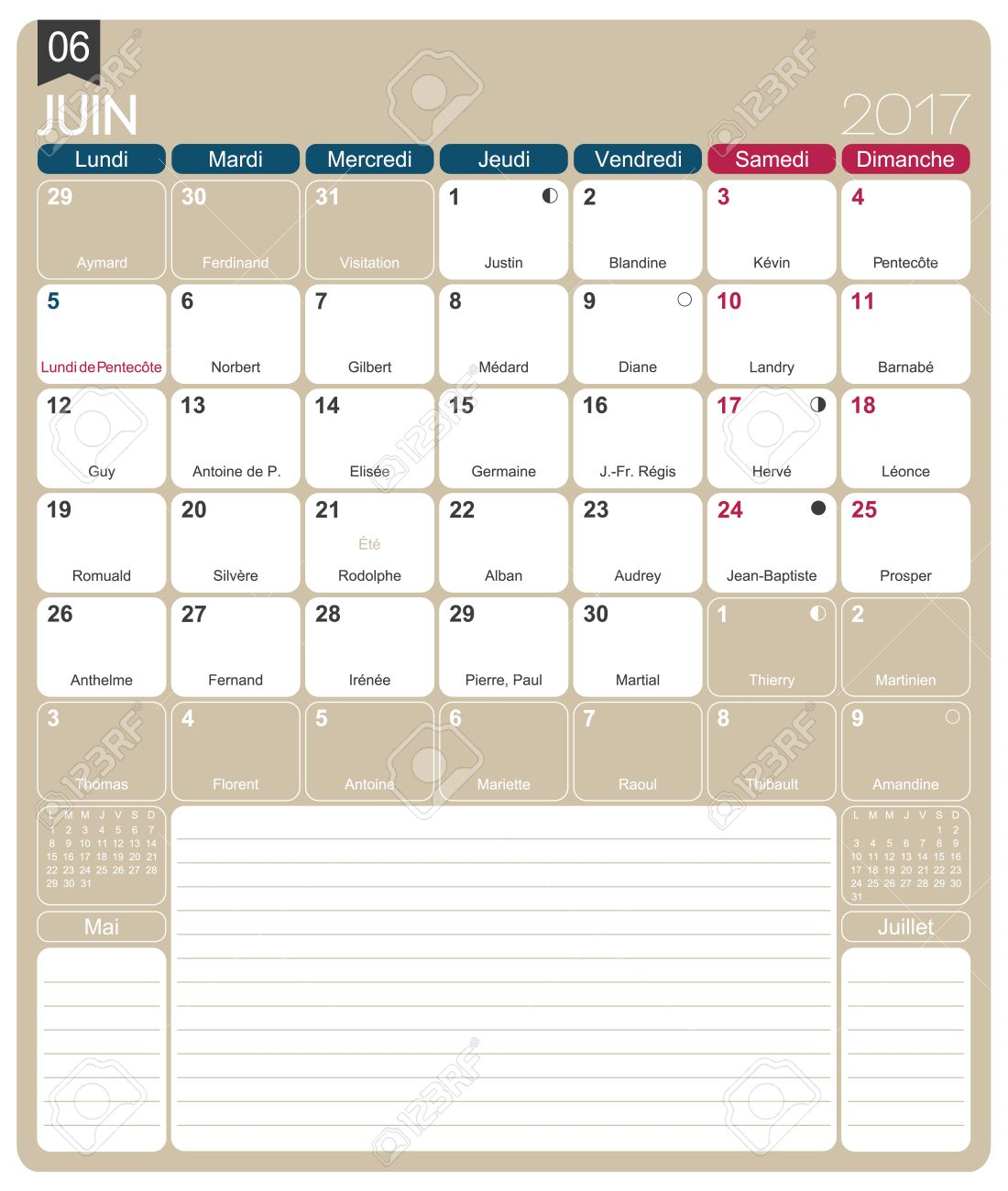 June 2017, French Printable Monthly Calendar Template, Including ...