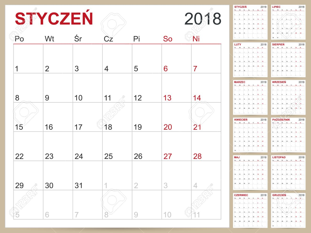 Polish Calendar Template For Year 2018 Set Of 12 Months Week