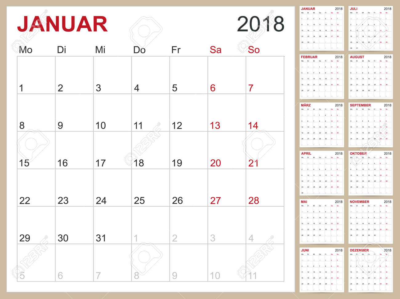 Calendario 12 Mesi.Modello Di Calendario Tedesco Per L Anno 2018 Set Di 12 Mesi La Settimana Inizia Il Lunedi Modelli Di Calendari Stampabili