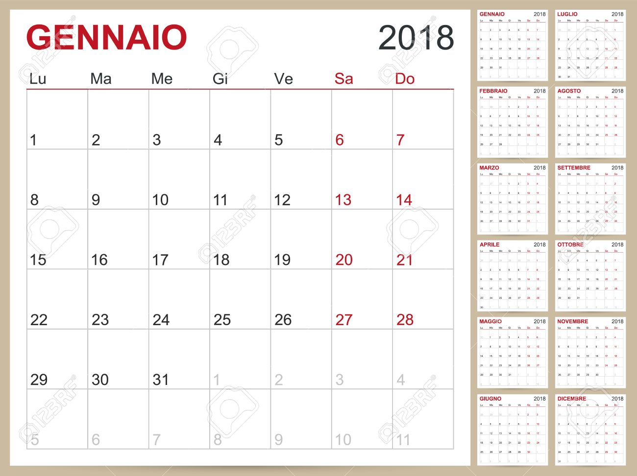 picture about Printable Calendar Months named Italian calendar template for 12 months 2018, fastened of 12 weeks, 7 days..