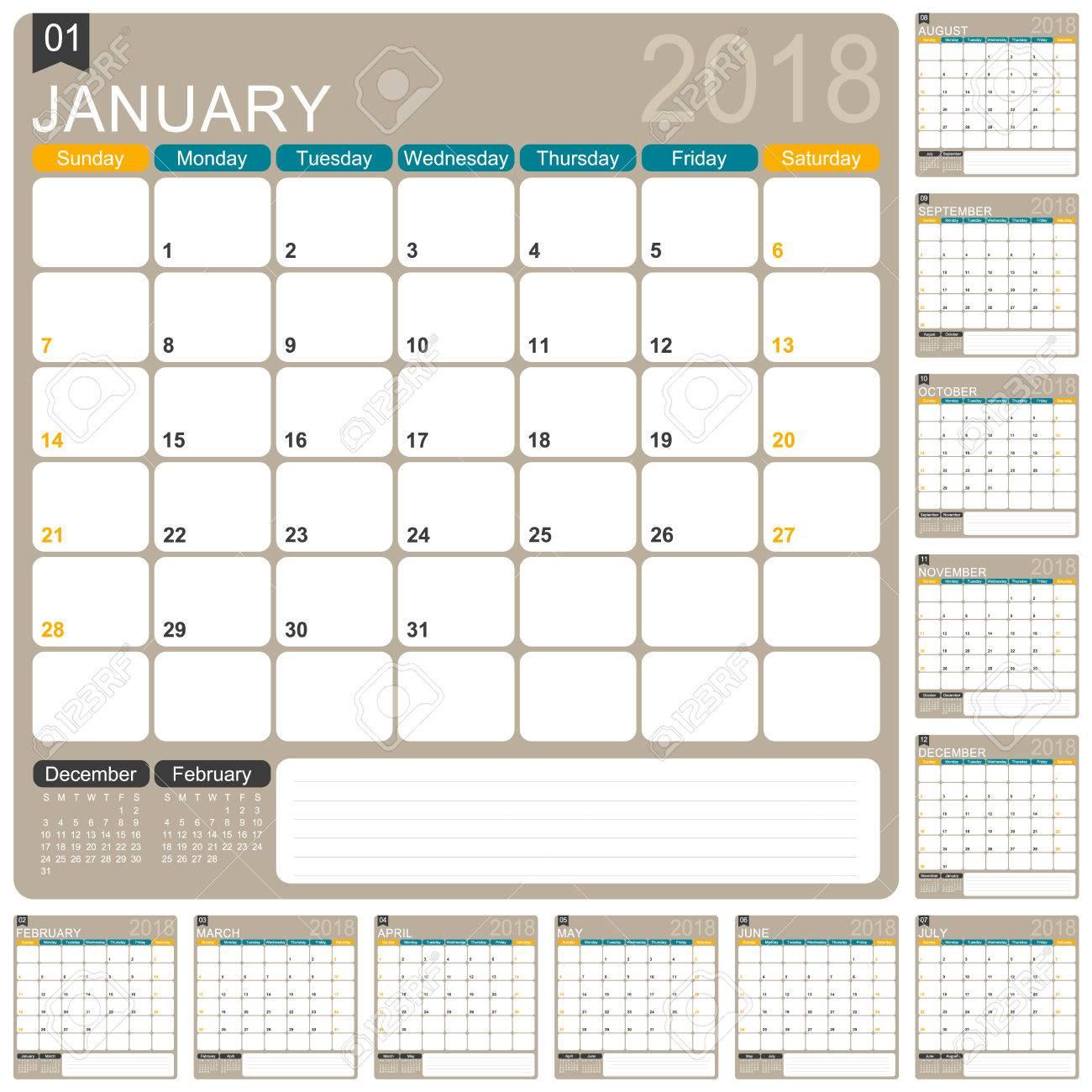 Englisch Kalendervorlage Für Das Jahr 2018 Festgelegt Von 12 Monaten ...