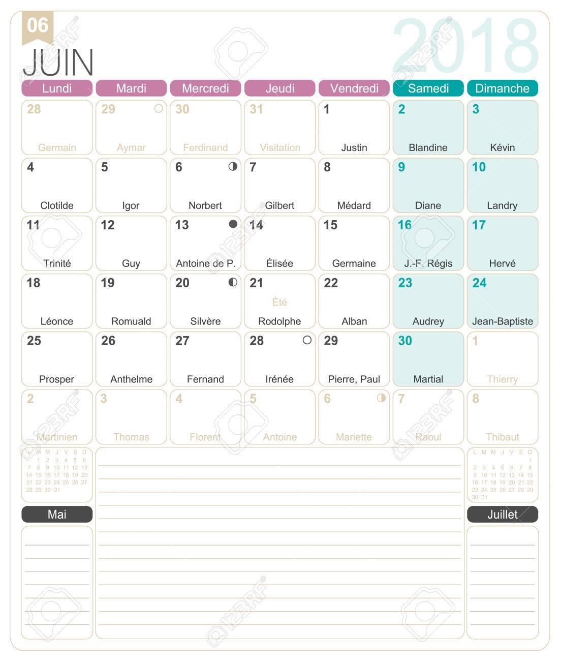 Juin 2018 Francais Modele De Calendrier Mensuel Imprimable Y Compris Les Jours De Nom Les Phases Lunaires Et Les Jours Feries