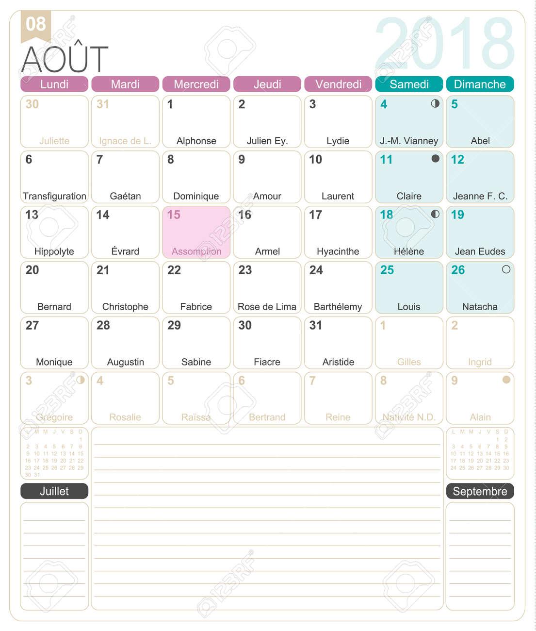 calendar august 2018 template