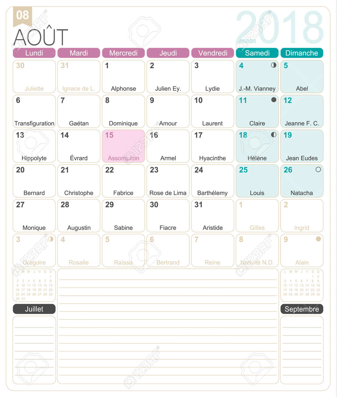 photograph relating to Free Printable Monthly Calendar With Holidays titled August 2018, French printable every month calendar template, which includes..