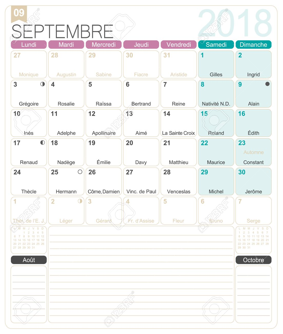 september 2018 french printable monthly calendar template including name days lunar phases and