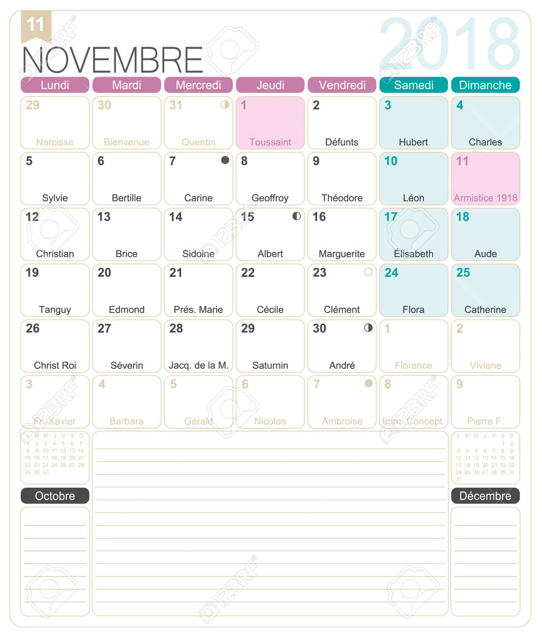 photograph relating to Printable Monthly Calendars referred to as November 2018, French printable regular calendar template, such as..