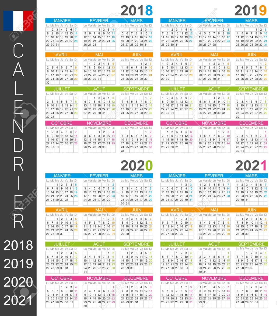 Calendario Frances.Plantilla De Calendario Frances Para Los Anos 2018 2019 2020 2021 Semana Empieza El Lunes